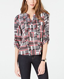 NY Collection Petite Printed Pleat-Front Utility Top