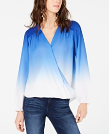 I.N.C. Petite Ombré Surplice Top, Created for Macy's