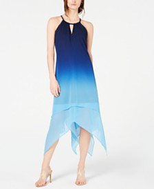 I.N.C. Petite Ombré Handkerchief-Hem Dress, Created for Macy's