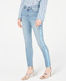 INC Sequin-Stripe Skinny Jeans, Created for Macy's