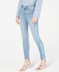 I.N.C. Sequin-Stripe Skinny Jeans, Created for Macy's