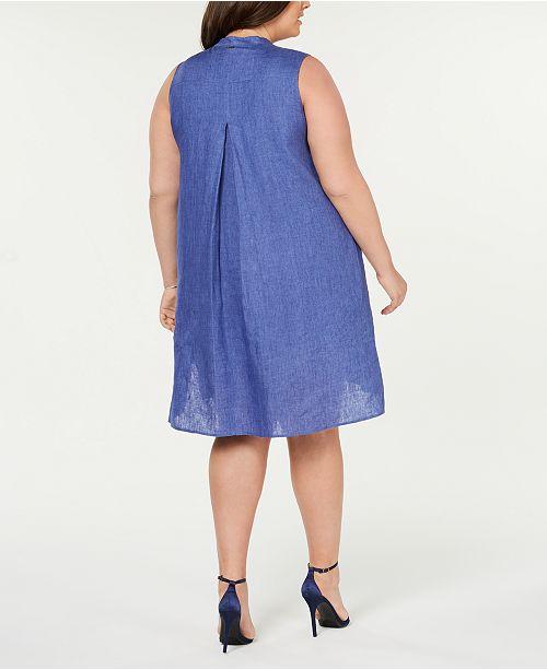 Anne Klein Plus Size Button-Front Shift Dress & Reviews - Dresses ...