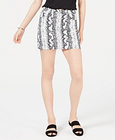 Juniors' Snake-Embossed Denim Mini Skirt
