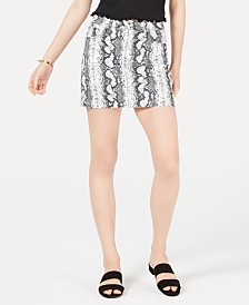Tinseltown Juniors' Snake-Embossed Denim Mini Skirt