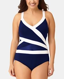 Anne Cole Plus Size Colorblock One-Piece Swimsuit