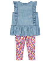 e877bd347 Polo Ralph Lauren Baby Girls Chambray Top & Floral Leggings Set