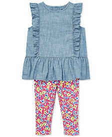 Polo Ralph Lauren Baby Girls Chambray Top & Floral Leggings Set