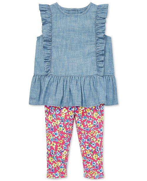 da4d83b9c3 Polo Ralph Lauren Baby Girls Chambray Top & Floral Leggings Set ...