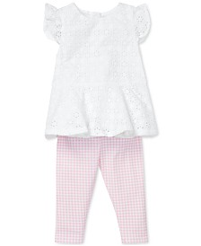 Polo Ralph Lauren Baby Girls Eyelet Top & Gingham Leggings