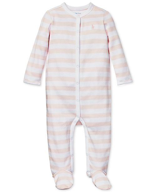 ca8aa5361 ... Polo Ralph Lauren Baby Girls Striped Cotton Interlock Coverall ...
