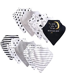 Hudson Baby Unisex Baby Cotton Bandana Bibs, Moon and Back 12-Pack, One Size