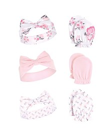 Hudson Baby Girl Headband and Scratch Mittens, 6-Piece Set, One Size