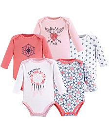 Yoga Sprout Unisex Baby Cotton Bodysuits, Long-Sleeve 5-Pack, 0-24 Months