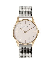 Jigsaw Ladies Two-Tone Watch Stainless Steel Case, Champaign Dial, Stainless Steel Mesh Bracelet
