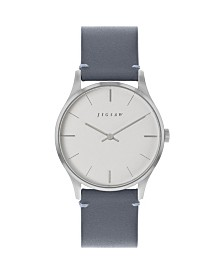 Jigsaw Ladies Watch, Stainless Steel Case, Silver Dial, Grey Genuine Leather Strap