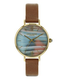 """Lola Rose """"Transformation"""", Ladies, Printed Tie Dye Agate Dial with a Genuine Amazonite Crown, tan Leather Strap, 38MM"""