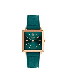 Henry London Heritage Square Rose Gold Stainless Steel Case Teal Dial and Teal Leather Strap
