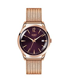 Hampstead Ladies 39mm Rose Gold Stainless Steel Mesh Bracelet Watch with Rose Gold Stainless Steel Casing