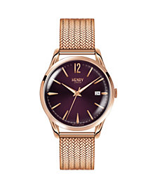 Henry London Hampstead Ladies 39mm Rose Gold Stainless Steel Mesh Bracelet Watch with Rose Gold Stainless Steel Casing