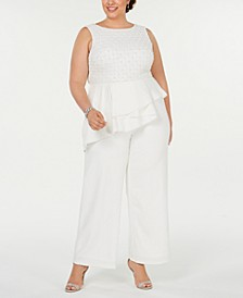 Plus Size Beaded-Bodice Jumpsuit