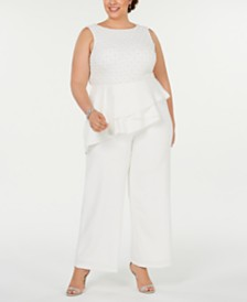 Adrianna Papell Plus Size Beaded-Bodice Jumpsuit