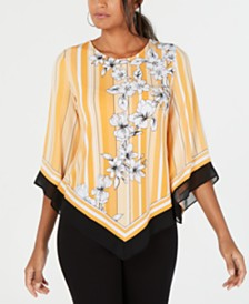 Alfani Petite Printed V-Hem Top, Created for Macy's