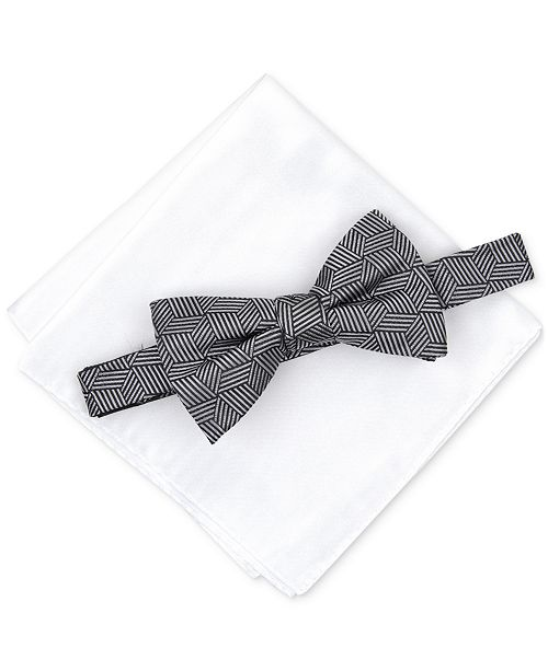 6ead69191ac0 Alfani Men's Geometric Pre-Tied Bow Tie & Solid Pocket Square Set, Created  for