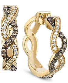 Le Vian Chocolatier® Diamond Braided Hoop Earrings (1/2 ct. t.w.) in 14k Gold