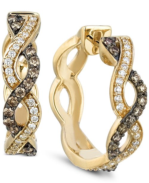 69d24bca8 Le Vian Chocolatier® Diamond Braided Hoop Earrings (1/2 ct. t.w.) in ...