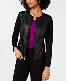 Petite Faux-Leather Mixed-Media Jacket, Created For Macy's