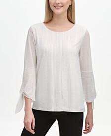 Calvin Klein Tie-Sleeve Blouse