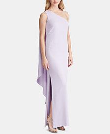 Lauren Ralph Lauren One-Shoulder Cape Gown