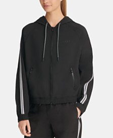 DKNY Sport Varsity-Stripe Hooded Jacket