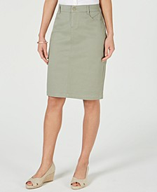 Petite Denim Tummy-Control Skirt, Created for Macy's