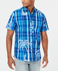 American Rag Men's Plaid Palm Shirt, Created for Macy's