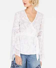 I.N.C. Lace Wrap Top, Created for Macy's