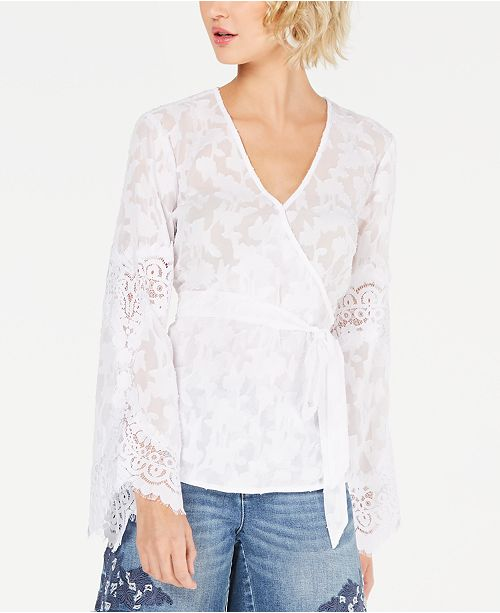 INC International Concepts I.N.C. Lace Wrap Top, Created for Macy's