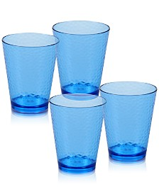 Certified International Blue Acrylic Double Old-Fashioned 16-oz. Tumblers, Set of 4