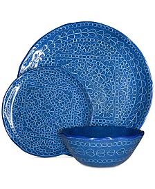 222 Fifth Capri Isle Mosaic Tile Blue Melamine 12-Pc. Dinnerware Set, Service for 4