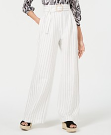 LEYDEN Striped Belted Pants