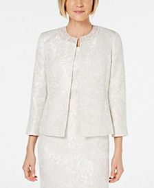 Embellished-Neck Jacquard Jacket