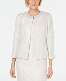 Kasper Embellished-Neck Jacquard Jacket