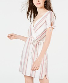 City Studios Juniors' Metallic Striped Wrap Dress