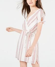 City Studios Juniors' Metallic Striped Wrap Dress