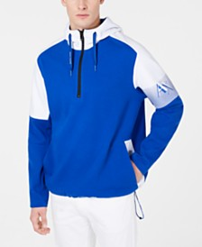 A|X Armani Exchange Men's Three-Quarter Zip Logo Hoodie