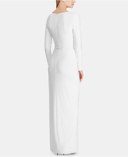 0318e94b Belted Ruched Jersey Gown