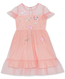 Rare Editions Toddler Girls Shirred Mesh Dress