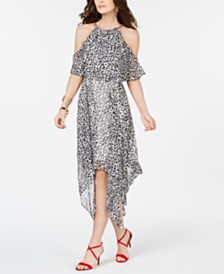 Thalia Sodi Animal Print Chain-Neck Off-The-Shoulder Maxi Dress, Created for Macy's