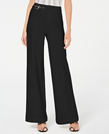I.N.C. Petite Side-Belt Wide-Leg Pants, Created for Macy's