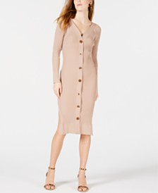 Moon River Button-Front Midi Sweater Dress